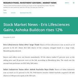 Stock Market News - Eris Lifesciences Gains, Ashoka Buildcon rises 12%
