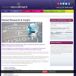 Market Research Jobs & Recruitment – Boyce Recruitment London