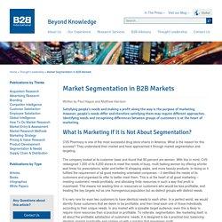 Market Segmentation in B2B Markets