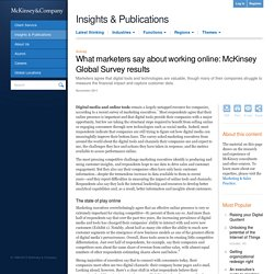 What marketers say about working online: McKinsey Global Survey results