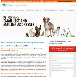 Pet Owners Email Lists, Mailing Addresses Database