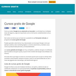 Cursos Gratis de Google: SEO, Marketing, Analytics, eCommerce...