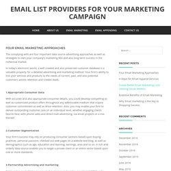 Four Email Marketing Approaches - Email list providers for your marketing campaign