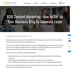 B2B Content Marketing: How to Set up Your Business Blog to Generate Leads