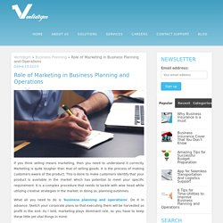Role of Marketing in Business Planning and Operations