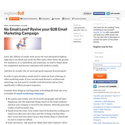No Email Love? Revive your B2B Email Marketing Campaign