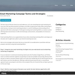 Email Marketing Campaign Tactics and Strategies