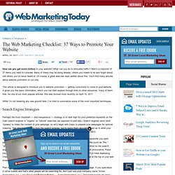 The Web Marketing Checklist: 37 Ways to Promote Your Site