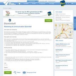 stage Marketing & communication Domintell - MonStage.be
