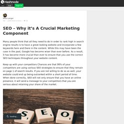 SEO – Why it's A Crucial Marketing Component - Hashnode