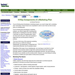 Marketing Plan: 10 Components You Should Include in Your Marketing Plan
