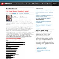 2011 Trends: Content Marketing Is Critical