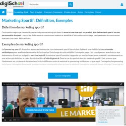 MARKETING SPORTIF : Définition, Mémoires, Stage...