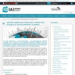"""Master Marketing Parcours """"Marketing éthique et développement durable"""""""