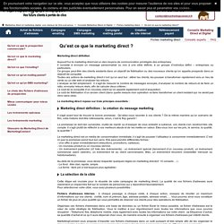 Marketing direct definition - agence marketing direct