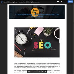 A Local SEO Marketing Company Discusses How SEO Can Help Businesses