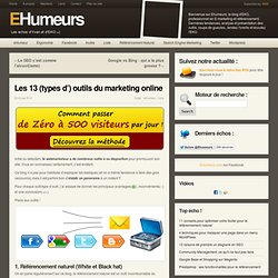 Les 13 (types d') outils du marketing online