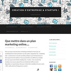 Que mettre dans un plan marketing online