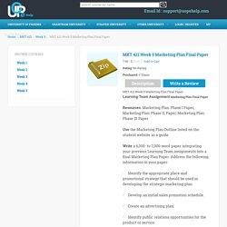 MKT 421 Week 5 Marketing Plan Final Paper - UOPEHelp