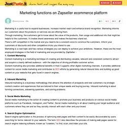 Marketing functions on Zapseller ecommerce platform