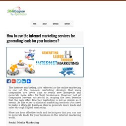 How to use the internet marketing services for generating leads for your business? - 360 Degree Digital Solutions