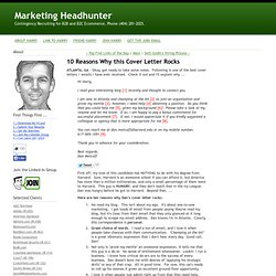 Marketing Headhunter.com: 10 Reasons Why this Cover Letter Rocks