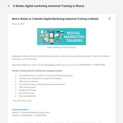 Best 6 Weeks or 3 Months Digital Marketing Industrial Training in Mohali