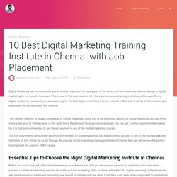 10 Best Digital Marketing Training Institute in Chennai with Job Placement
