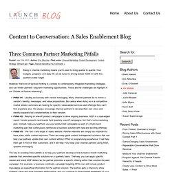 Three Common Partner Marketing Pitfalls