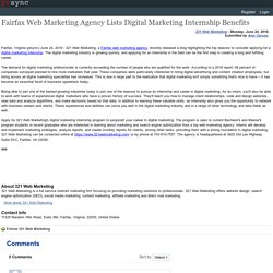 Fairfax Web Marketing Agency Lists Digital Marketing Internship Benefits
