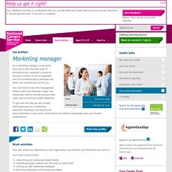 Marketing manager Job Information