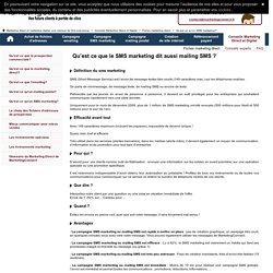 Sms marketing - mailing sms - pub sms avec MarketingConnect