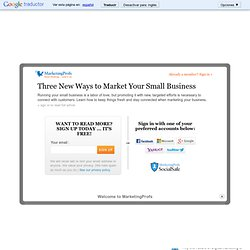 Strategy - Three New Ways to Market Your Small Business