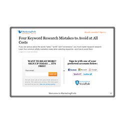 Search Engine Marketing - Four Keyword Research Mistakes to Avoid at All Costs