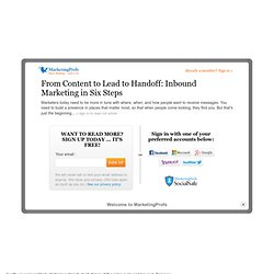 Sales - From Content to Lead to Handoff: Inbound Marketing in Six Steps