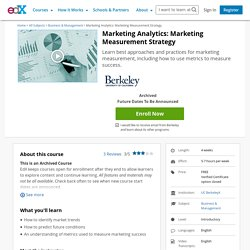 Marketing Analytics: Marketing Measurement Strategy