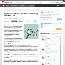 Key Marketing Metrics You Should Be Getting from Your CRM