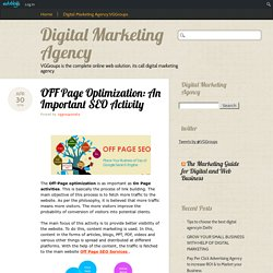 OFF Page Optimization: An Important SEO Activity