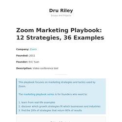 Zoom Marketing Playbook: 12 Strategies, 36 Examples - Dru Riley