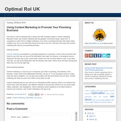 Using Content Marketing to Promote Your Plumbing Business
