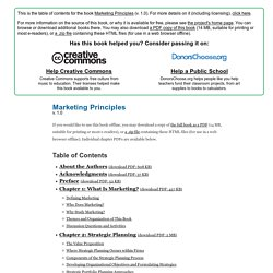 Marketing Principles - Table of Contents