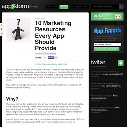 10 Marketing Resources Every App Should Provide