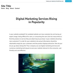Digital Marketing Services Rising in Popularity – Site Title