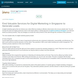 Find Valuable Services for Digital Marketing in Singapore to Generate Leads: intrapress