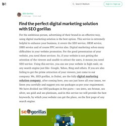 Find the perfect digital marketing solution with SEO gorillas