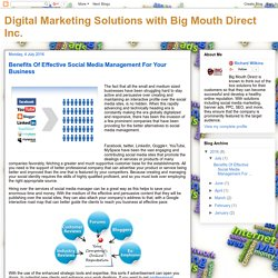 Digital Marketing Solutions with Big Mouth Direct Inc.: Benefits Of Effective Social Media Management For Your Business