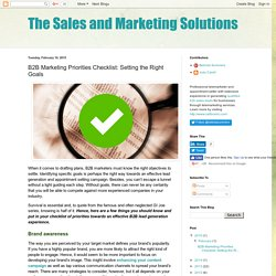 The Sales and Marketing Solutions: B2B Marketing Priorities Checklist: Setting the Right Goals
