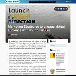 Marketing Strategies to engage virtual audience with your business
