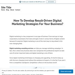 How To Develop Result-Driven Digital Marketing Strategies For Your Business? – Site Title