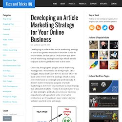 How to Develop an Article Marketing Strategy for Your Online Business
